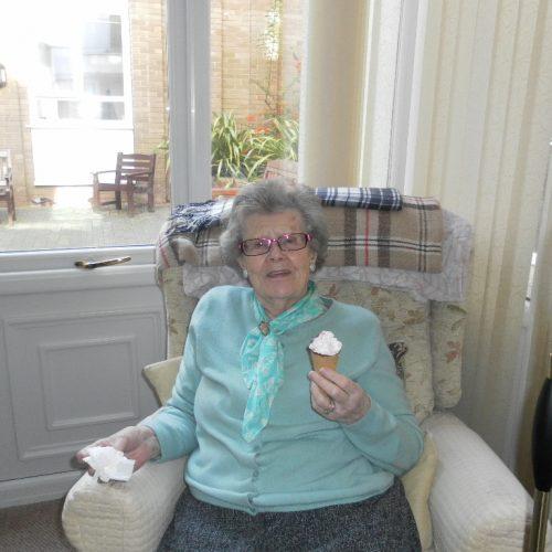St Mary's Nursing Home resident enjoying an ice cream