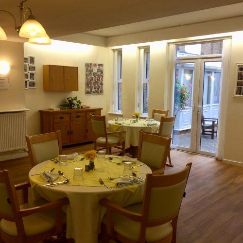 St Mary's Nursing Home dining room set for dinner